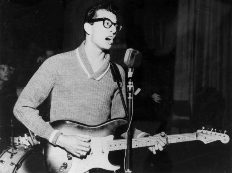 "Music. Personalities. pic: circa 1957. American singer, songwriter and pioneer of rock Buddy Holly (1936-1959) who with his group ""The Crickets"" was one of the most popular entertainers of the 1950's. Buddy Holly tragically died in a plane crash in 1959."